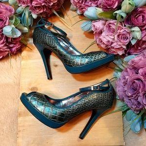 Dollhouse Faux Alligator Leather Heels